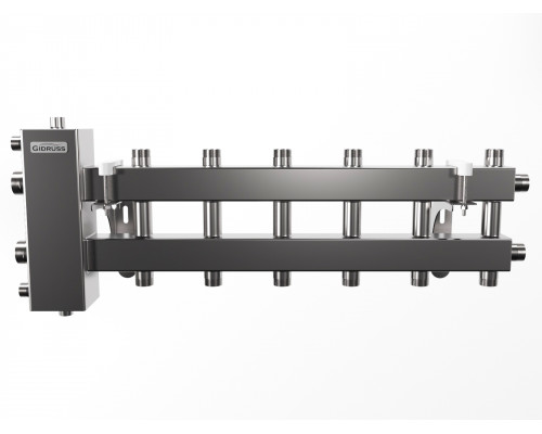 BMSS-100-7DU (до 100 кВт, подкл. котла G 1¼″, 3+3+1 контура G 1″, матовая полировка)